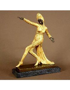 """Sculpture en bronze: Femme Art déco """"Diva Ballet russe"""" -Patine dorée"""