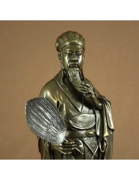Sculpture en bronze: Confucius -Patine brune