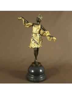 "Figura de Bronce. Mujer Art Decó ""Kernalan Indian Dancer"" -Dorado"