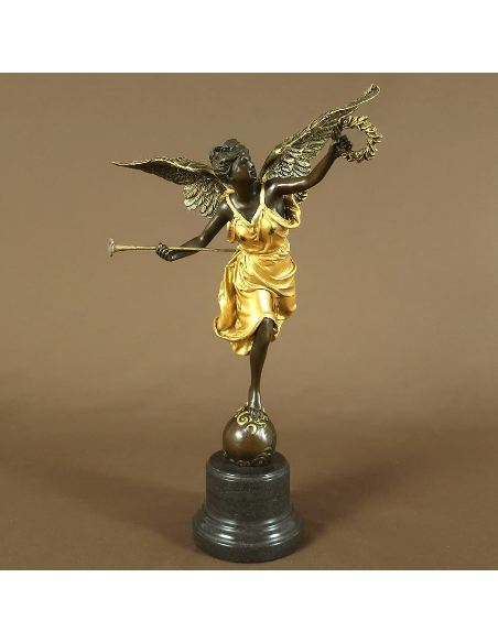 """Sculpture en bronze: Ange trompette & couronne """"La Renommée"""" -Pat.dorée"""